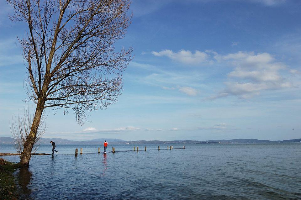 Loop over het water van het Trasimeno meer