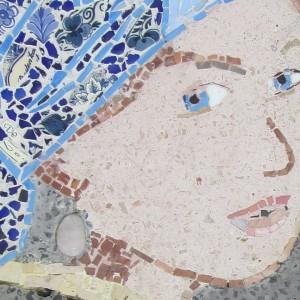 Het meisje met de parel van Vermeer in terrazzo