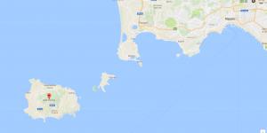Landkaart Ischia en Napels