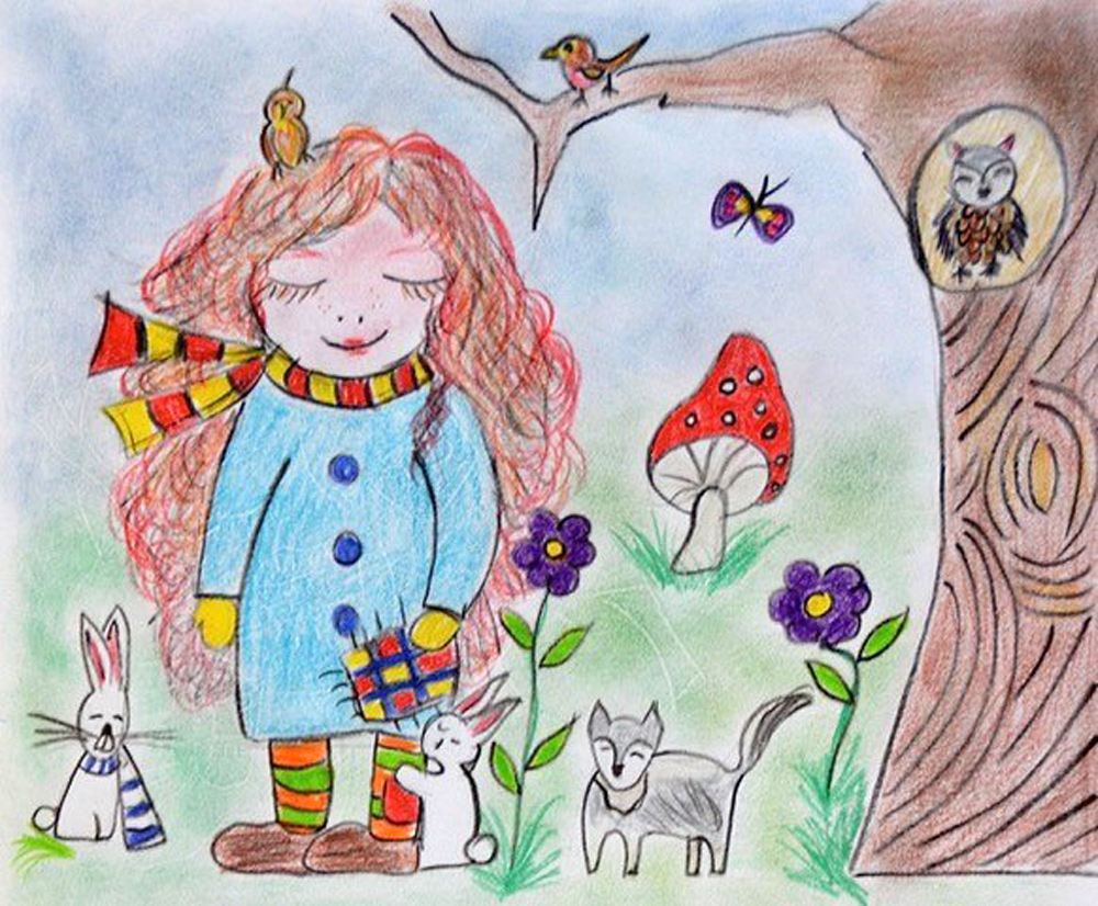 La Befana als goede fee in het bos, tekening door Elisa Wobben