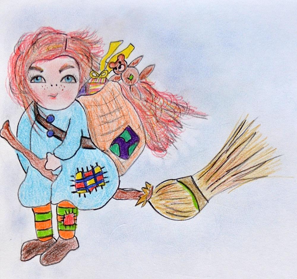 La Befana als goede fee, tekening door Elisa Wobben